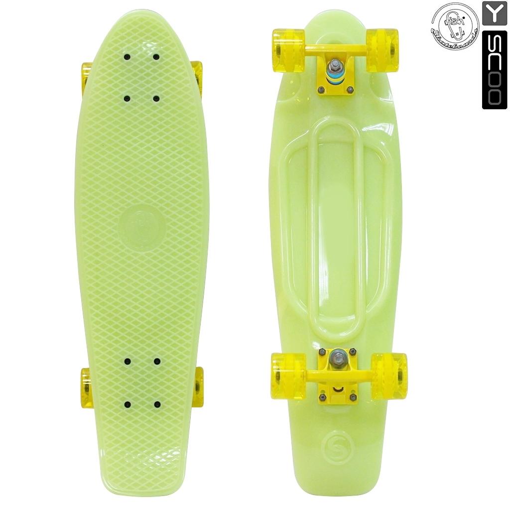 Скейтборд виниловый Y-Scoo Big Fishskateboard Glow 27 402E-Y с сумкой, желтыйДетские скейтборды<br>Скейтборд виниловый Y-Scoo Big Fishskateboard Glow 27 402E-Y с сумкой, желтый<br>