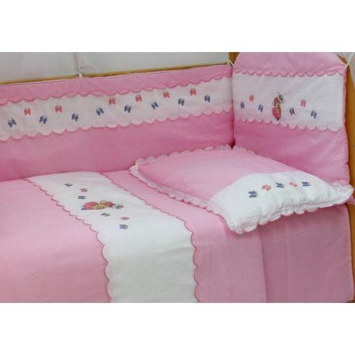 Комплект в кроватку - Любавушка, 7 предметов, розовыйДетское постельное белье<br>Комплект в кроватку - Любавушка, 7 предметов, розовый<br>