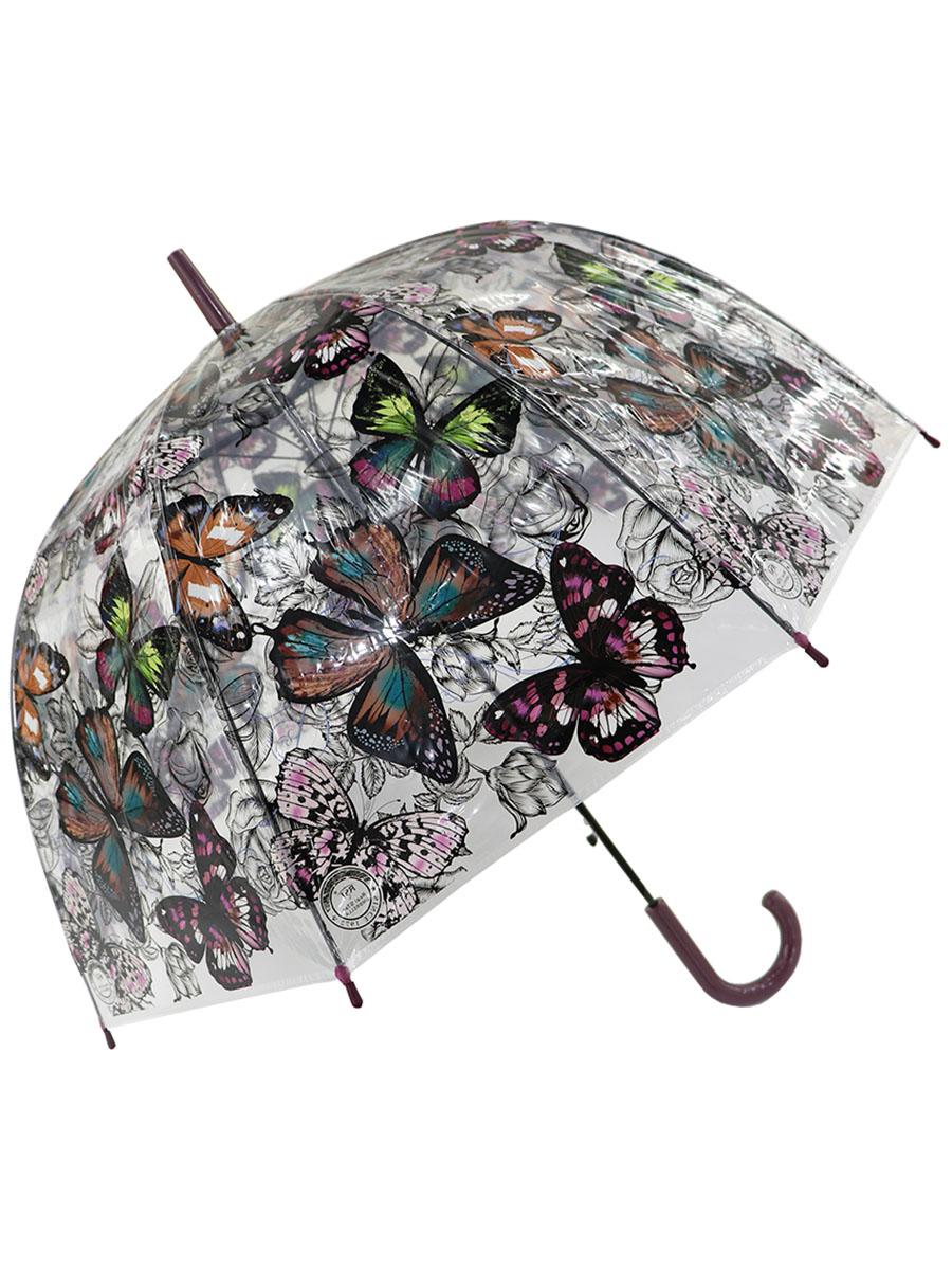 Зонт-трость – Бабочки, прозрачный купол, коричневый фото