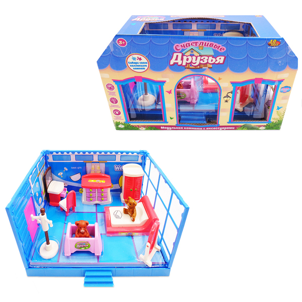 Купить Модульная комната - Счастливые друзья, в наборе с мебелью и фигурками животных, 11 предметов, ABtoys
