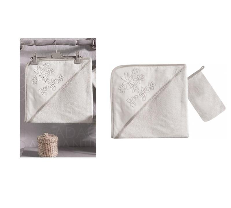 Купить Полотенце уголок и варежка Valentine Saten Vanilla, 100% хлопок, размер 75 х 75 см, Kidboo