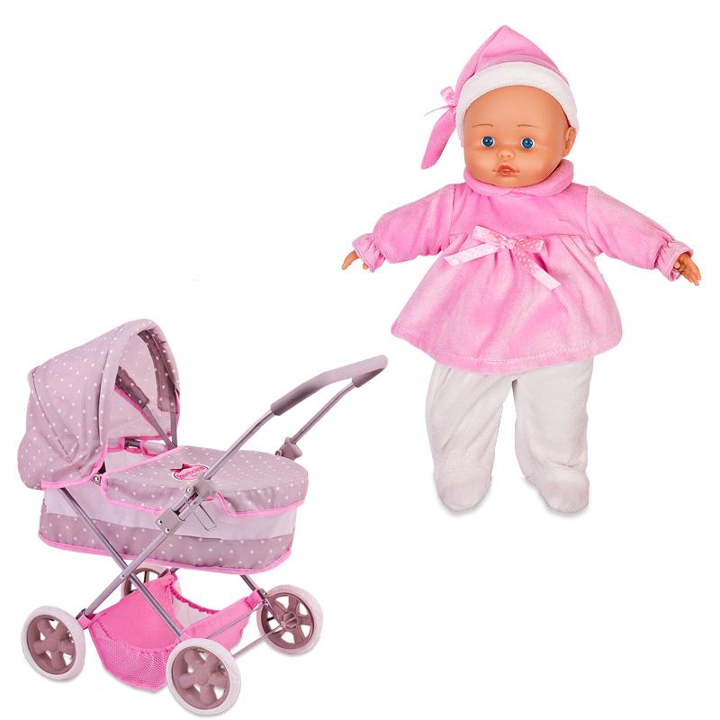 Bambolina Boutique  Классическая коляска с куклой, 36 см - Коляски для кукол, артикул: 165463