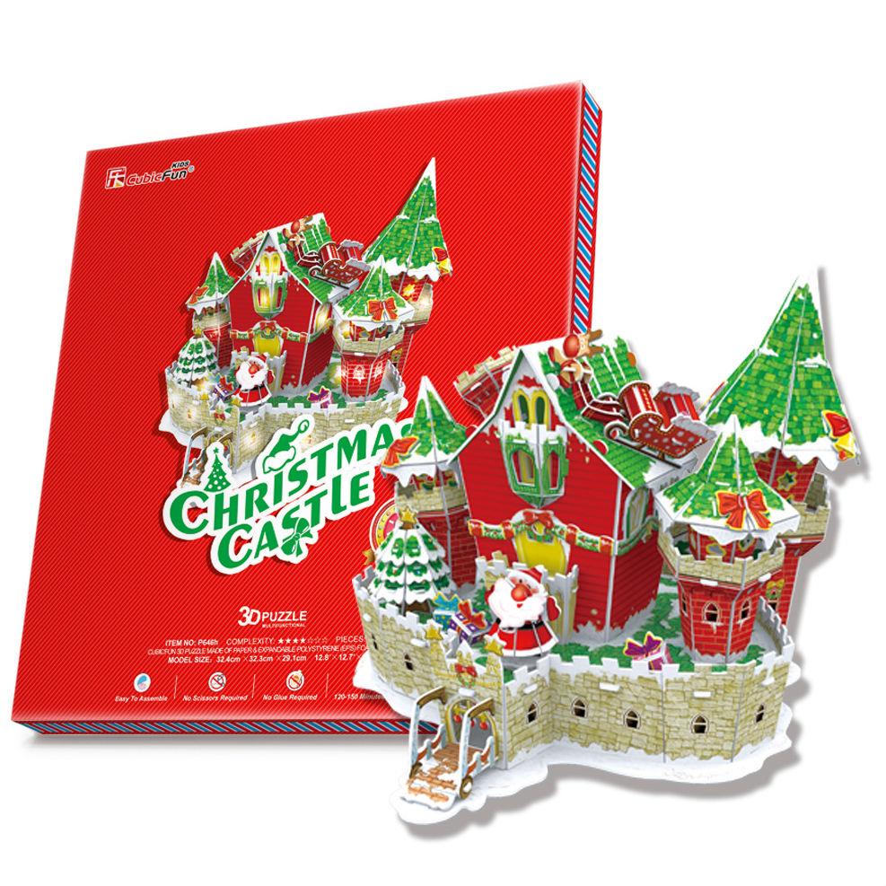 Купить Объемный пазл - Сказочный рождественский замок, с подсветкой, Cubic Fun