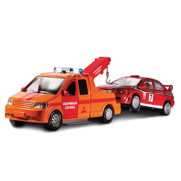 Машина металлическая инерционная - Эвакуатор - Аварийная служба с машинкой, со светом и звукомГородская техника<br>Машина металлическая инерционная - Эвакуатор - Аварийная служба с машинкой, со светом и звуком<br>