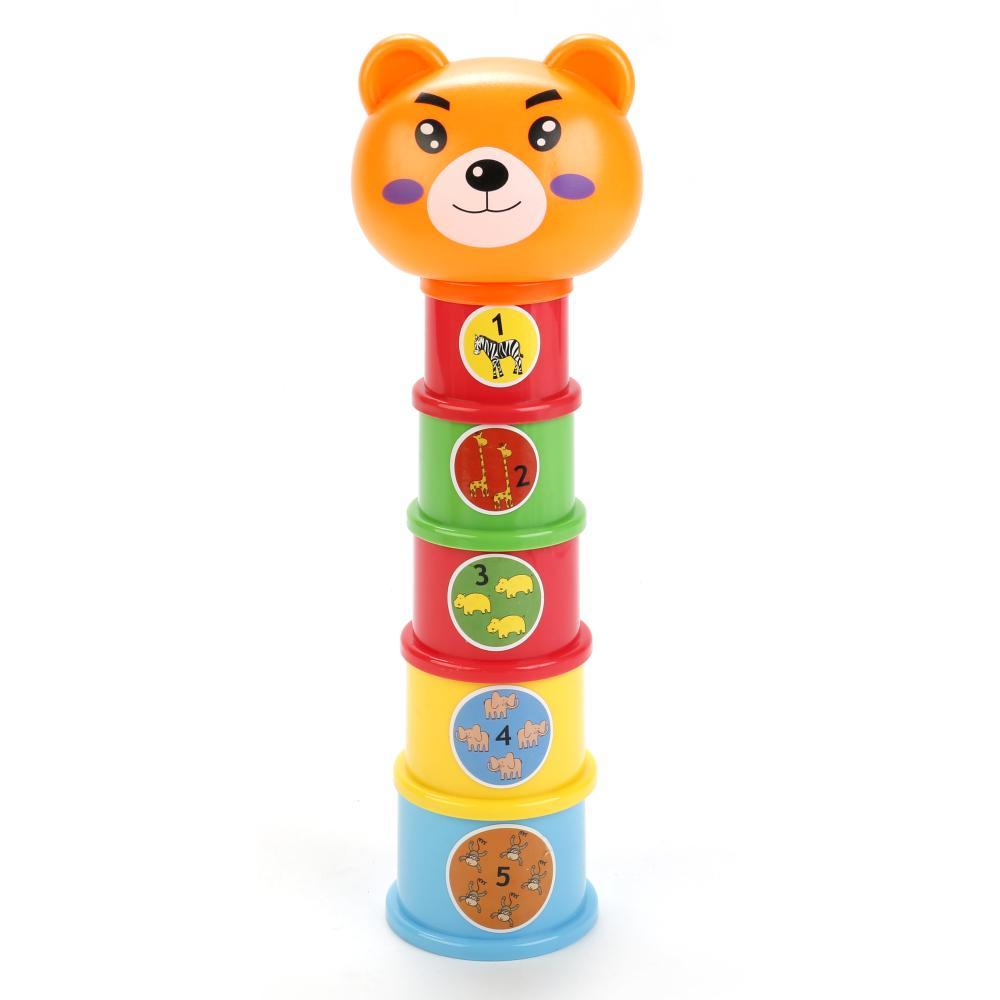 Развивающая пирамидка - Мишка, животные, цвета, счет фото
