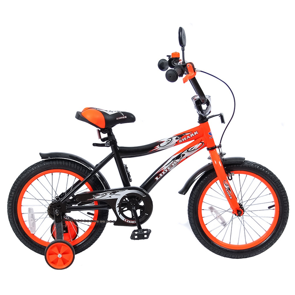 Двухколесный велосипед Lider shark, диаметр колес 16 дюймов, оранжевый/черныйВелосипеды детские<br>Двухколесный велосипед Lider shark, диаметр колес 16 дюймов, оранжевый/черный<br>