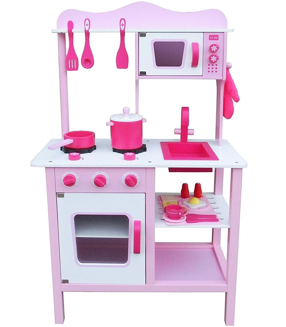 Купить Кухня деревянная - Фьюжн, розовый, с аксессуарами, Lanaland