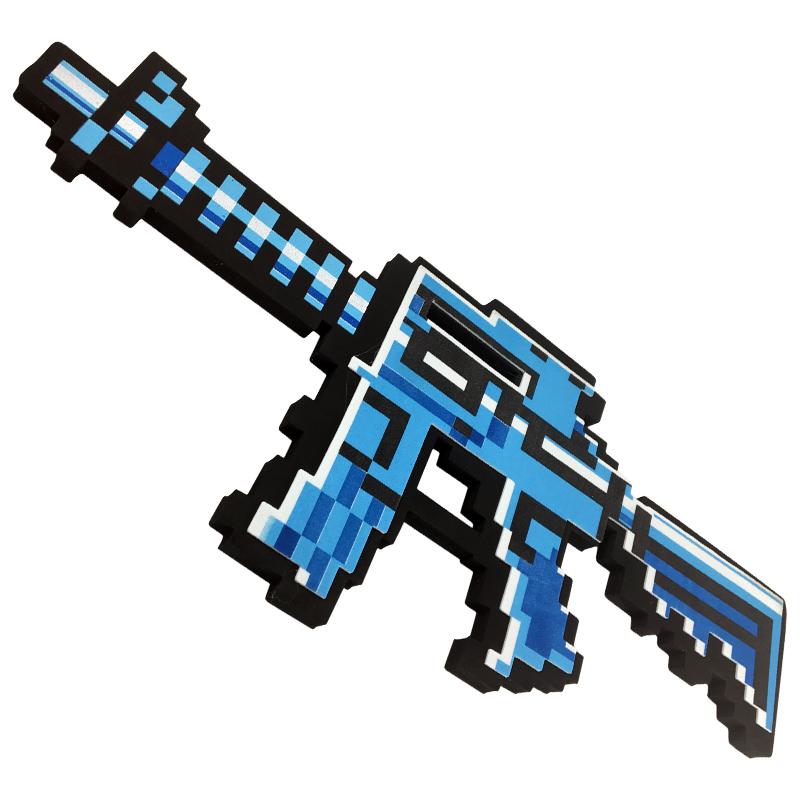 Купить Автомат М4 8 Бит, синий пиксельный, 39 см, Pixel Crew