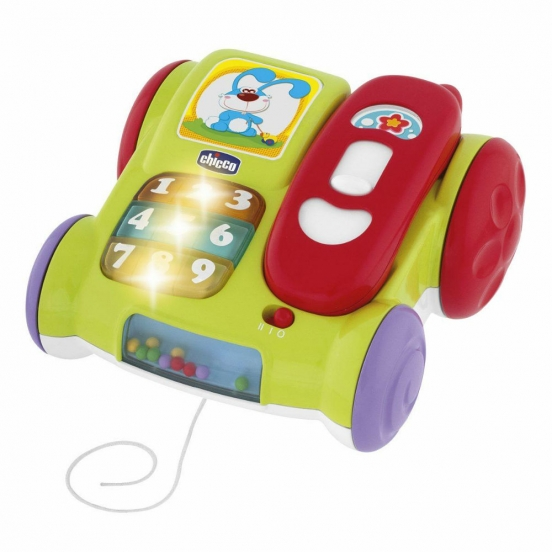 Музыкальный телефон с колесикамиРазвивающие Игрушки Chicco<br>Музыкальный телефон с колесиками<br>