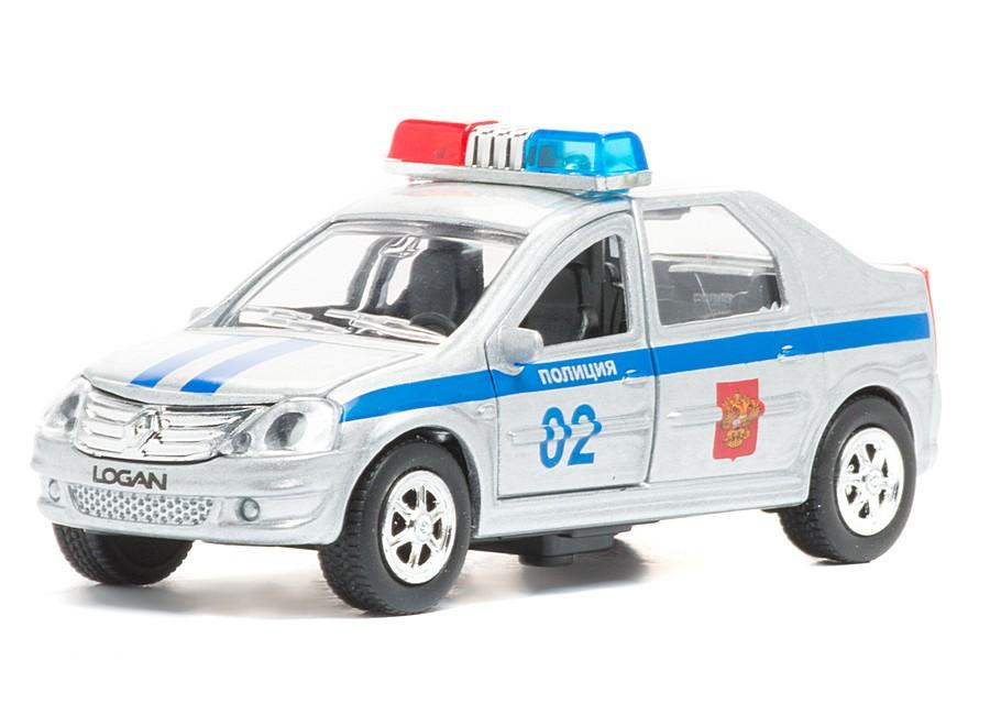 Купить Полиция Renault Logan - металлическая инерционная машина -, масштаб 1:43, со светом и звуком, Технопарк