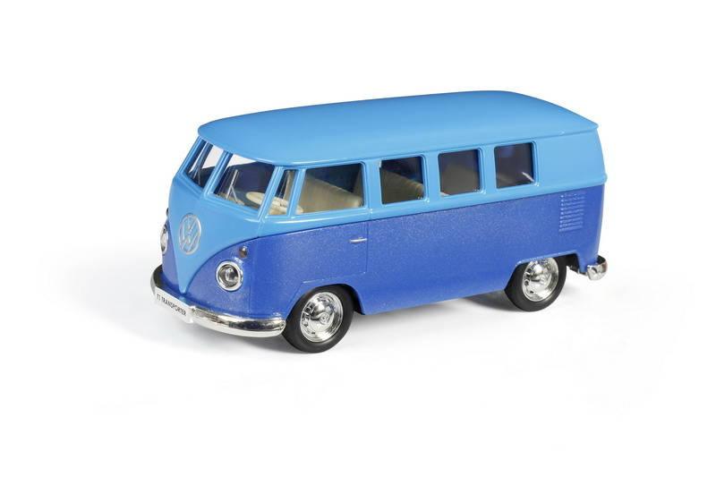 Автобус инерционный металлический Volkswagen Type 2 T1 Transporter, цвет матовый голубой с синим, 1:32 ), RMZ City  - купить со скидкой