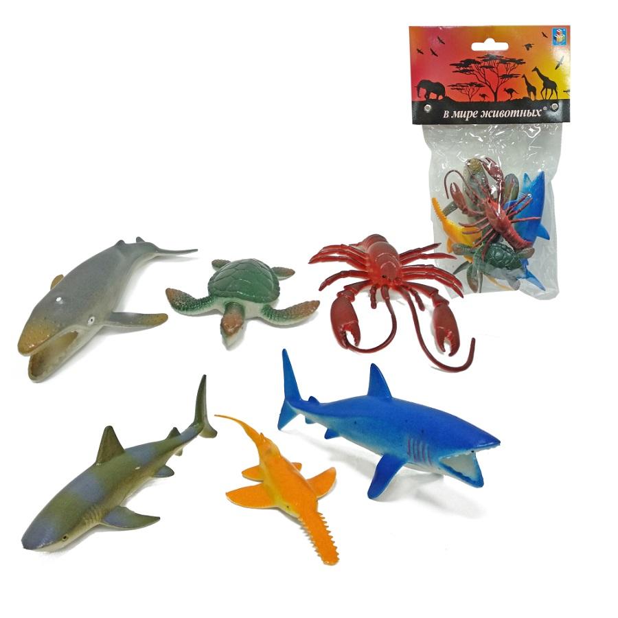 Купить Набор морских животных 6 штук, В мире животных, 4 вида, 1TOY