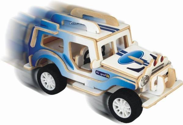 Модель деревянная сборная – Внедорожник, с механизмомПазлы объёмные 3D<br>Модель деревянная сборная – Внедорожник, с механизмом<br>