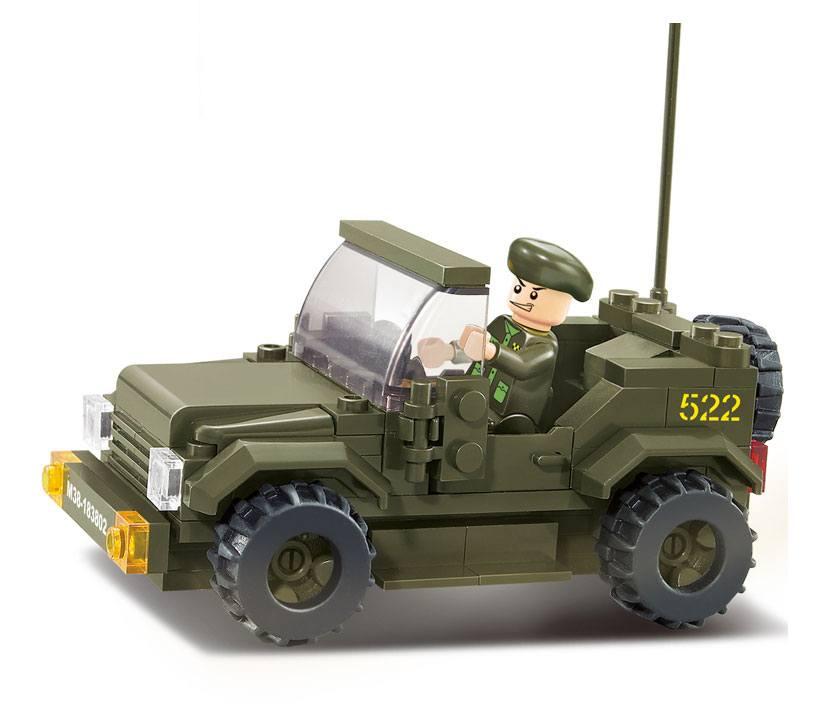Купить Конструктор - Сухопутные войска. Машина военная с фигуркой, 121 деталь, Sluban