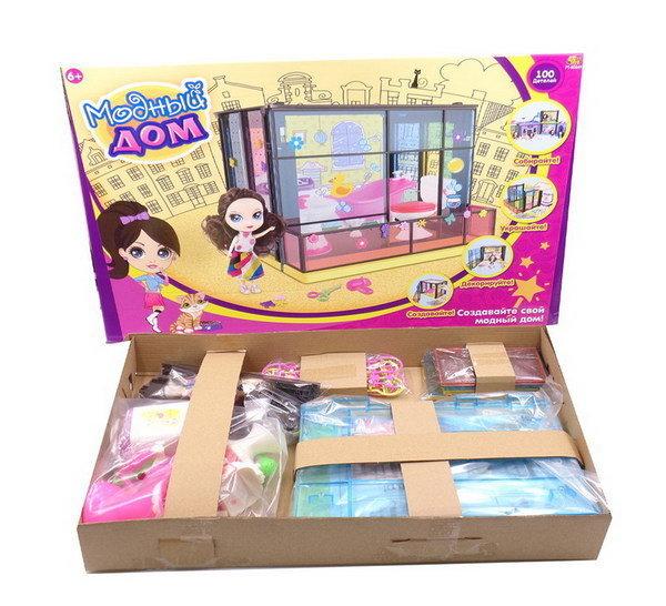 Игровой набор с куклой и аксессуарами - Модный дом, 100 деталейКукольные домики<br>Игровой набор с куклой и аксессуарами - Модный дом, 100 деталей<br>