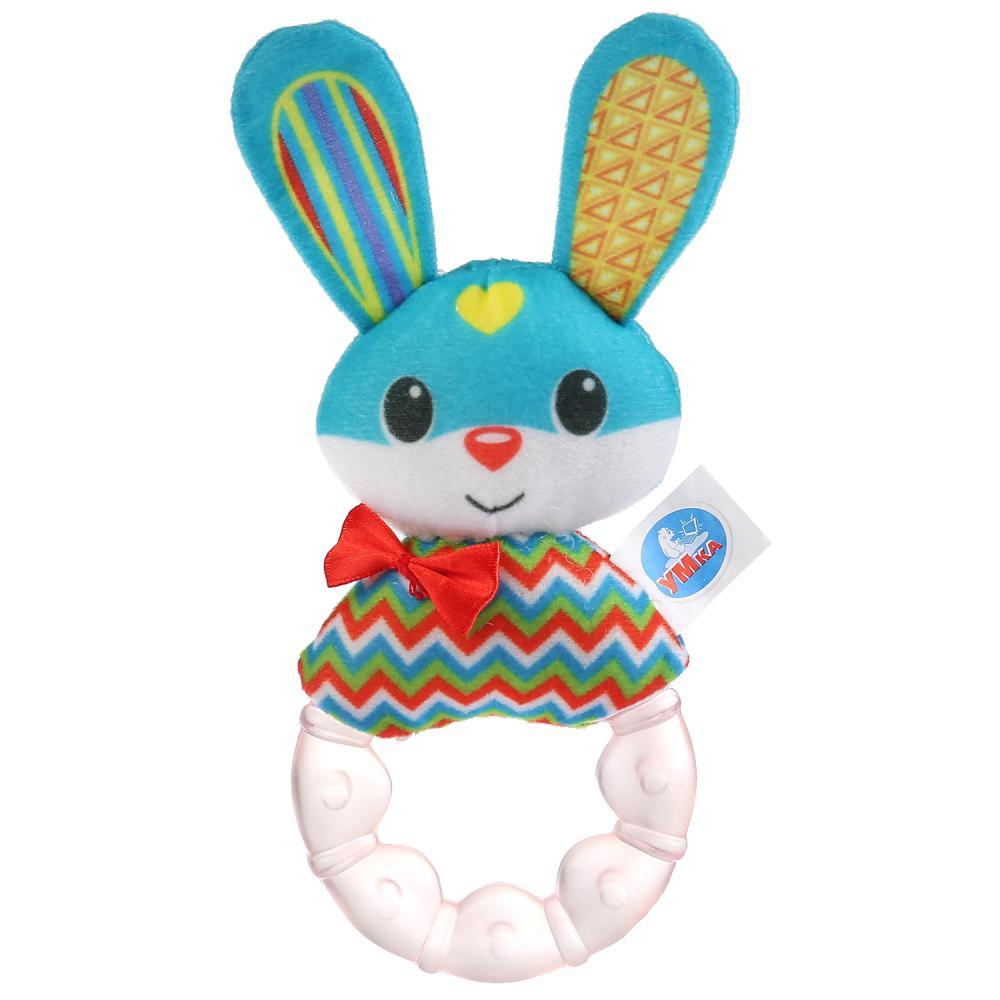 Текстильная игрушка-погремушка с охлаждающим кольцом - Шустрый зайка фото