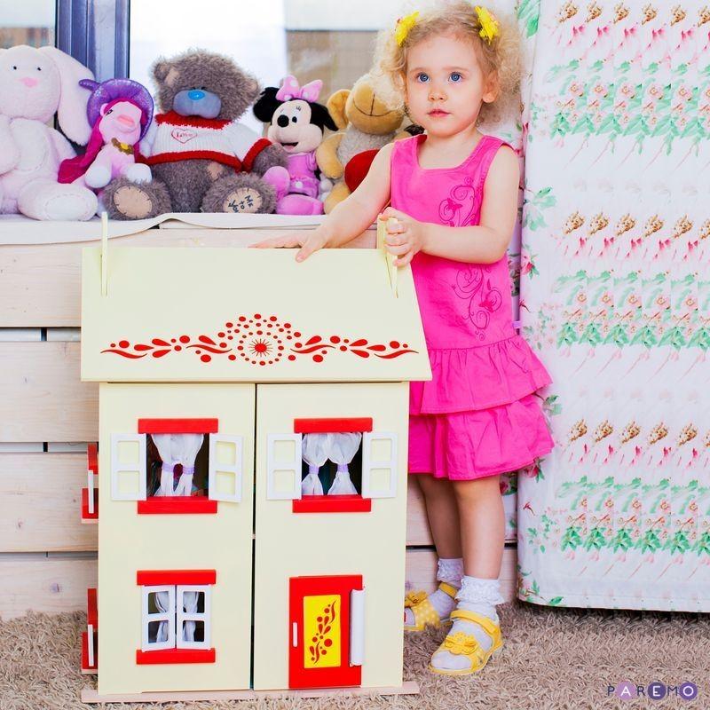 Купить Деревянный кукольный домик с 15 предметами мебели - София, Paremo