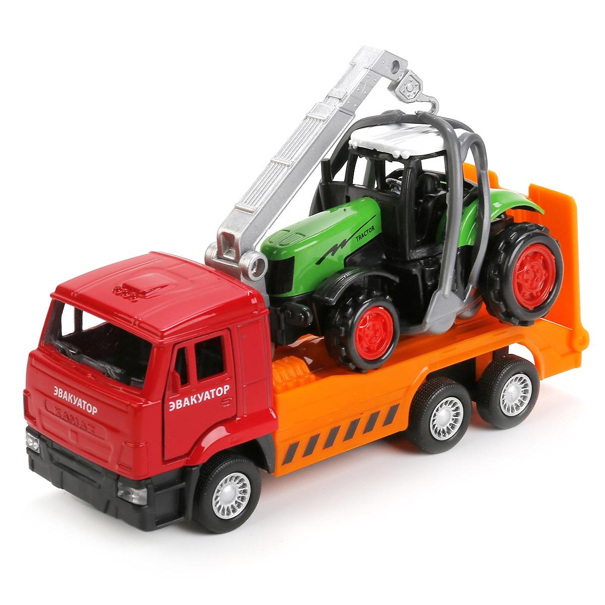 Купить Набор Камаз эвакуатор 12, 5 см и трактор 7, 5 см, металлический инерционный, Технопарк