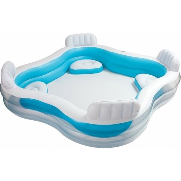 Купить Надувной бассейн семейный с сиденьем и спинкой, 229 х 229 х 66 см. от 3 лет, Intex