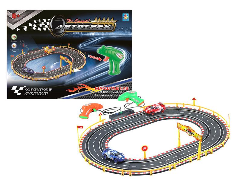 Автотрек - Ночные гонки, 2 машинки, 2 полосы, трасса 180 см фото