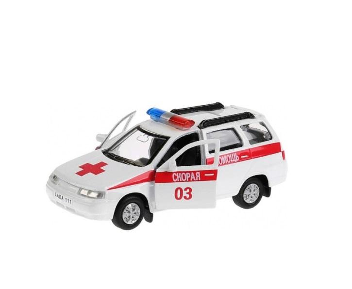 Купить Машина металлическая Lada 111 скорая 12 см, открываются двери и багажник, инерционная, Технопарк