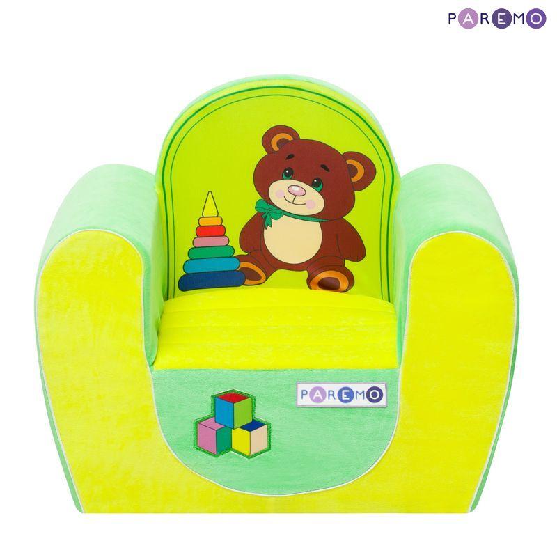 Детское кресло Медвежонок, желто-салатовоеДетские кровати и мягкая мебель<br>Детское кресло Медвежонок, желто-салатовое<br>