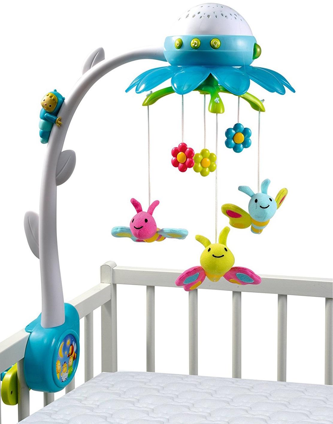 Мобиль музыкальный на кроватку - Цветок, синийМобили и музыкальные карусели на кроватку, игрушки для сна<br>Мобиль музыкальный на кроватку - Цветок, синий<br>