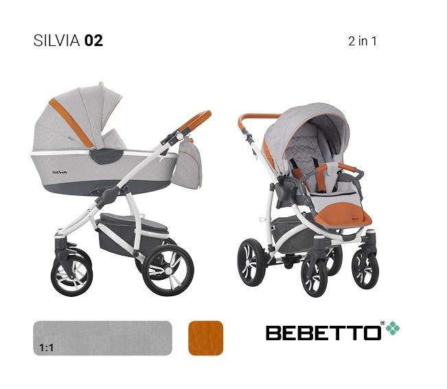 Детская коляска Silvia 2 в 1, шасси белая/BIA