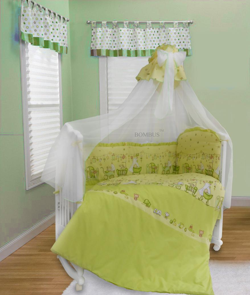 Комплект в кроватку - Забавки, 7 предметов, зелёныйДетское постельное белье<br>Комплект в кроватку - Забавки, 7 предметов, зелёный<br>