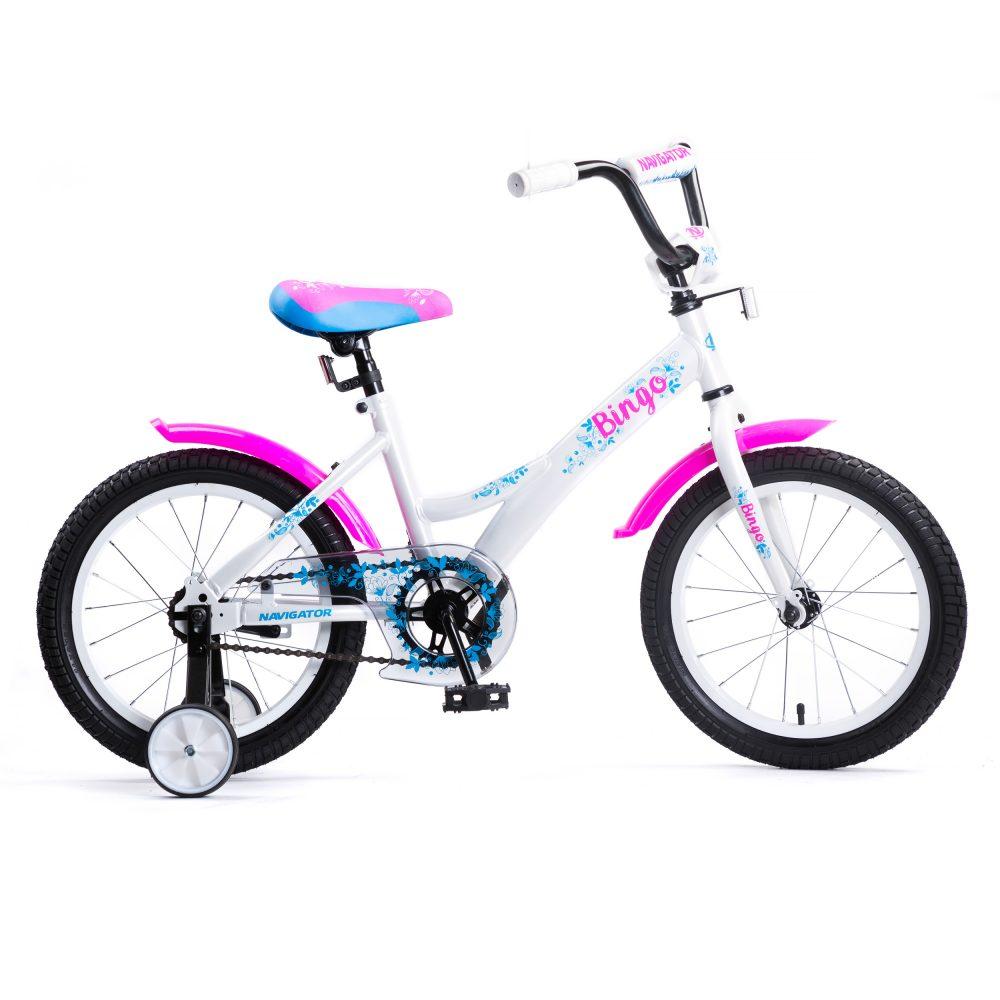 Купить Детский велосипед Navigator Bingo бело-розовый, колеса 16 , стальная рама, стальные обода, ножной тормоз
