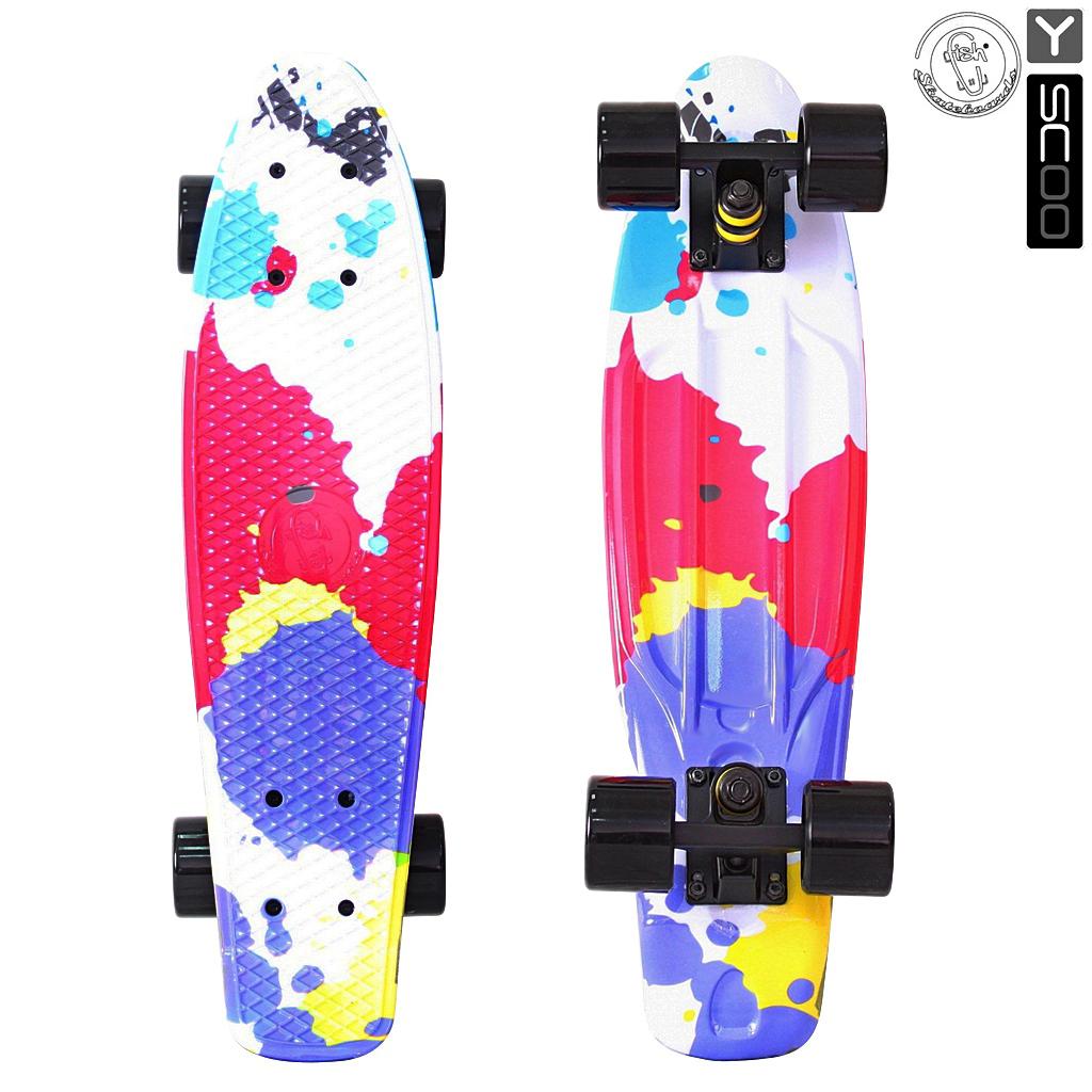 Скейтборд виниловый Y-Scoo Fishskateboard Print 22  401G-Sp с сумкой, дизайн Брызги - Детские скейтборды, артикул: 153167
