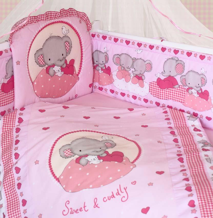 Комплект в кроватку - Слоник Боня, розовыйДетское постельное белье<br>Комплект в кроватку - Слоник Боня, розовый<br>