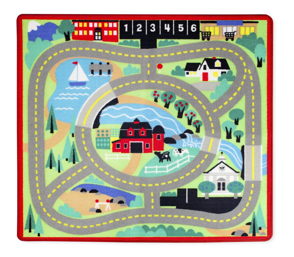 Напольный коврик – Город, с дорогами и машинкамиДетские парковки и гаражи<br>Напольный коврик – Город, с дорогами и машинками<br>