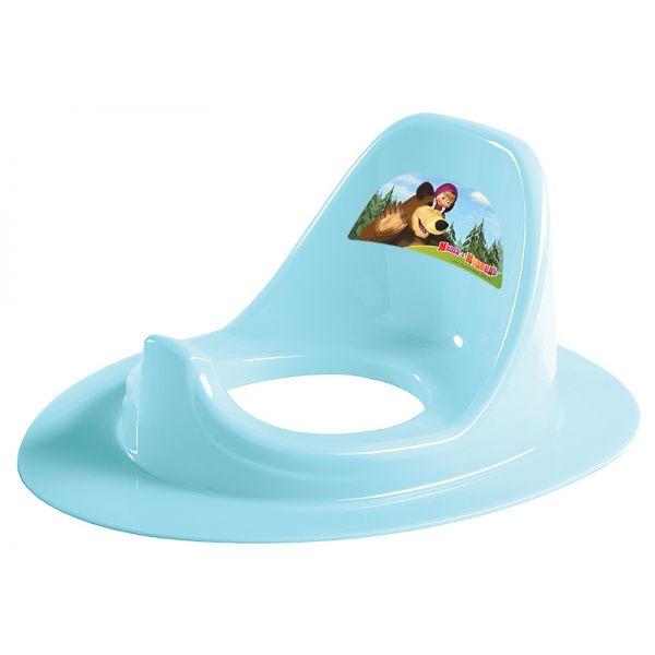 Накладка на унитаз с аппликацией Маша и Медведь, цвет голубойгоршки и сиденья для унитаза<br>Накладка на унитаз с аппликацией Маша и Медведь, цвет голубой<br>