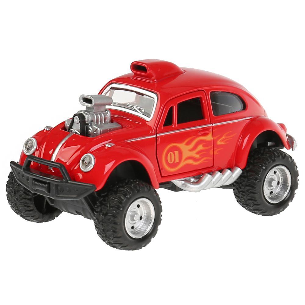 Купить Машина металлическая Хотрод, длина 12 см, открываются двери, свет-звук, инерционная, цвет красный, Технопарк