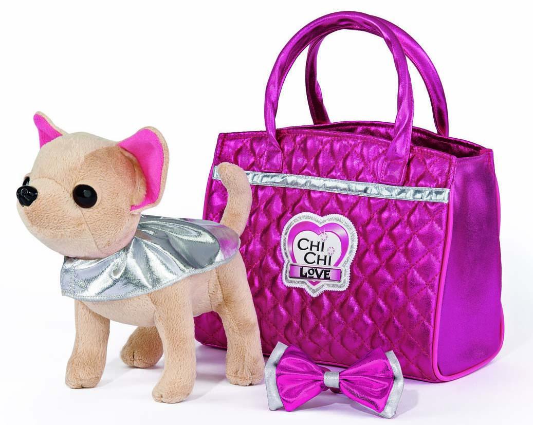 Купить Плюшевая собачка Chi-Chi love - Гламур, с розовой сумочкой и бантом, 20 см, Simba