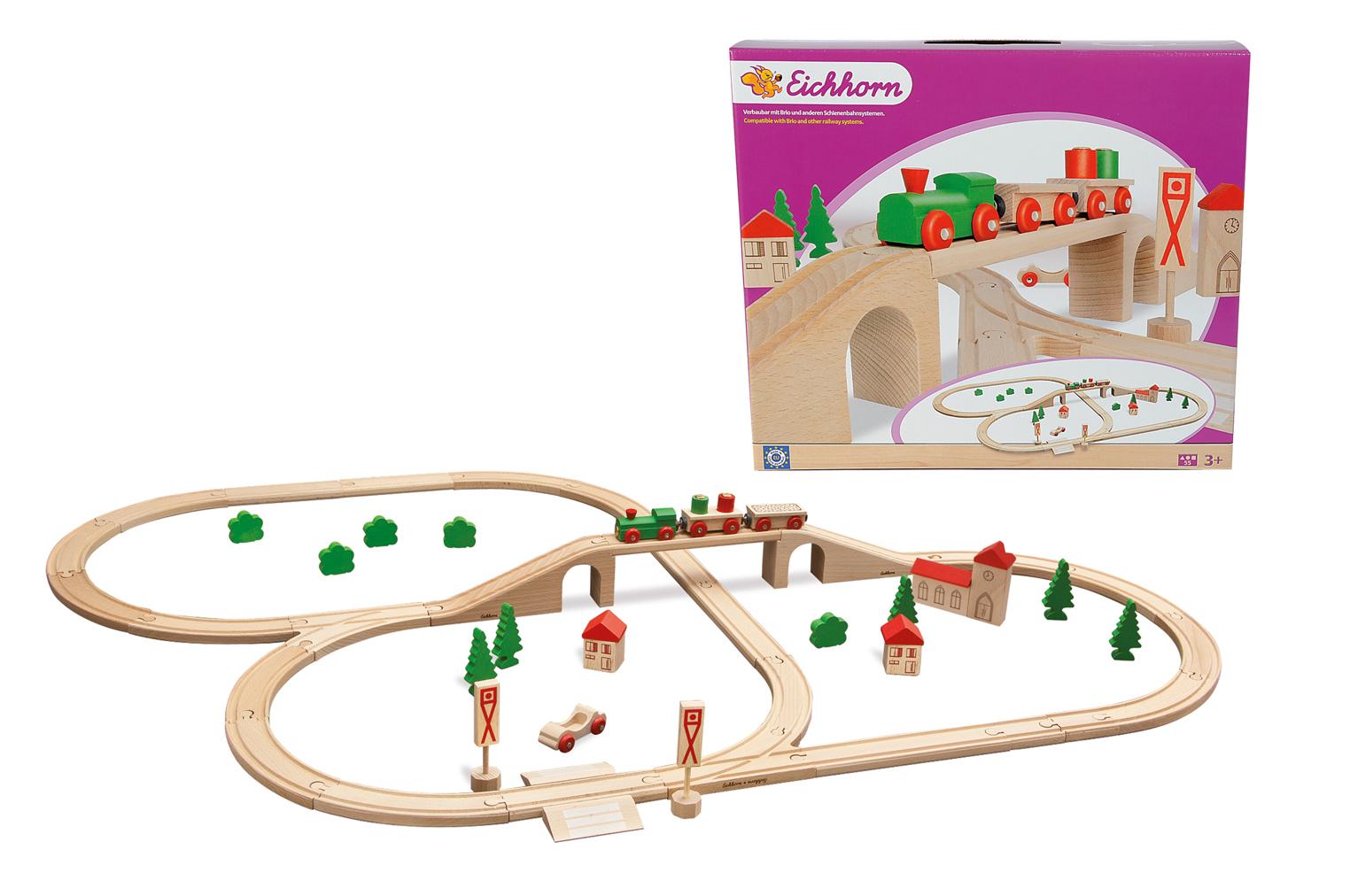 Набор деревянной железной дороги с мостомЖелезная дорога для малышей<br>Набор деревянной железной дороги с мостом<br>