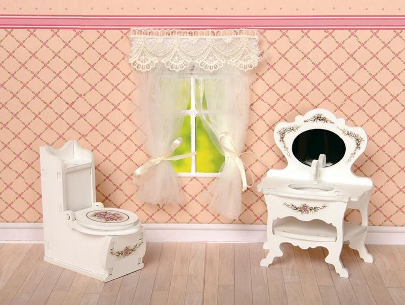 Купить Набор мебели для кукольного дома - Туалетная комната: унитаз, умывальник, коллекция Прованс, ЯиГрушка