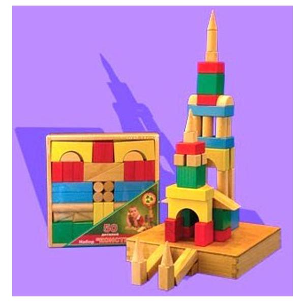 Конструктор деревянный цветной, 50 деталейКубики<br>Конструктор деревянный цветной, 50 деталей<br>