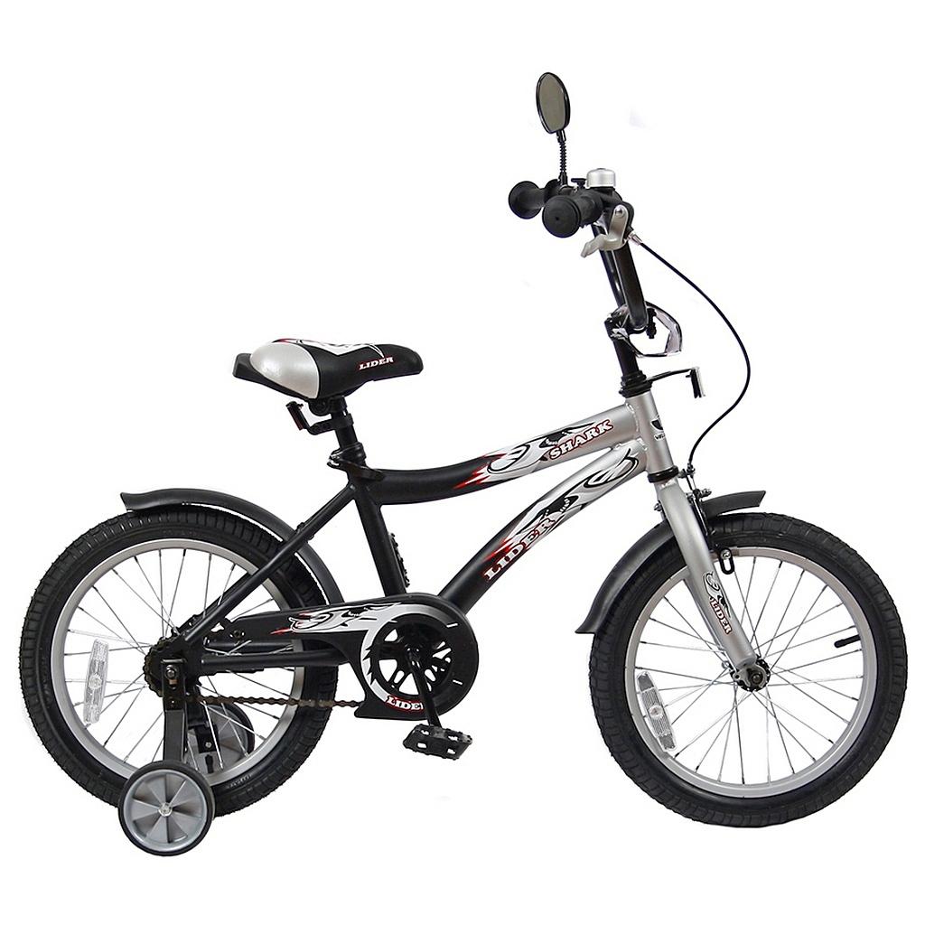 Двухколесный велосипед Lider shark, диаметр колес 16 дюймов, серый/черныйВелосипеды детские<br>Двухколесный велосипед Lider shark, диаметр колес 16 дюймов, серый/черный<br>
