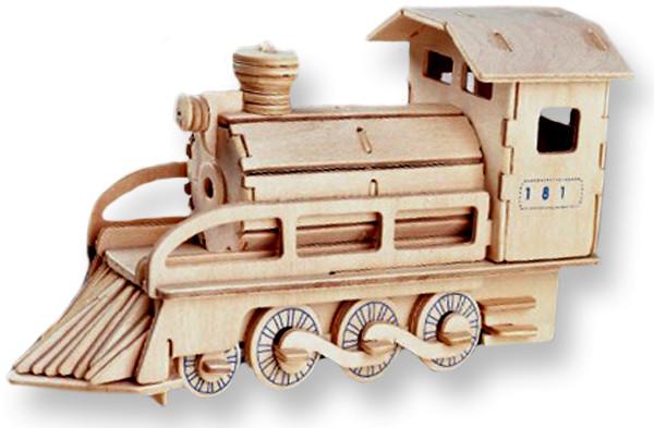 Модель деревянная сборная - ЛокомотивПазлы объёмные 3D<br>Модель деревянная сборная - Локомотив<br>