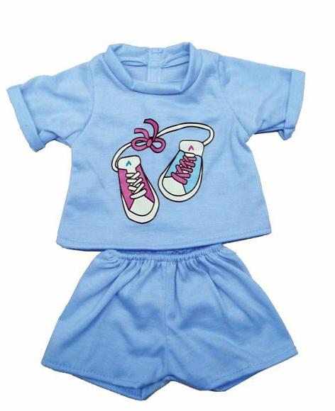 Одежда для куклы размером 38-43 см. - футболка и шортикиОдежда для кукол<br>Одежда для куклы размером 38-43 см. - футболка и шортики<br>