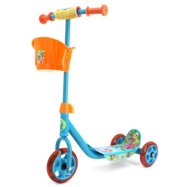 Трехколесный самокат с корзиной – Смешарики, колеса 14,5 и 12 см, оранжево-голубой