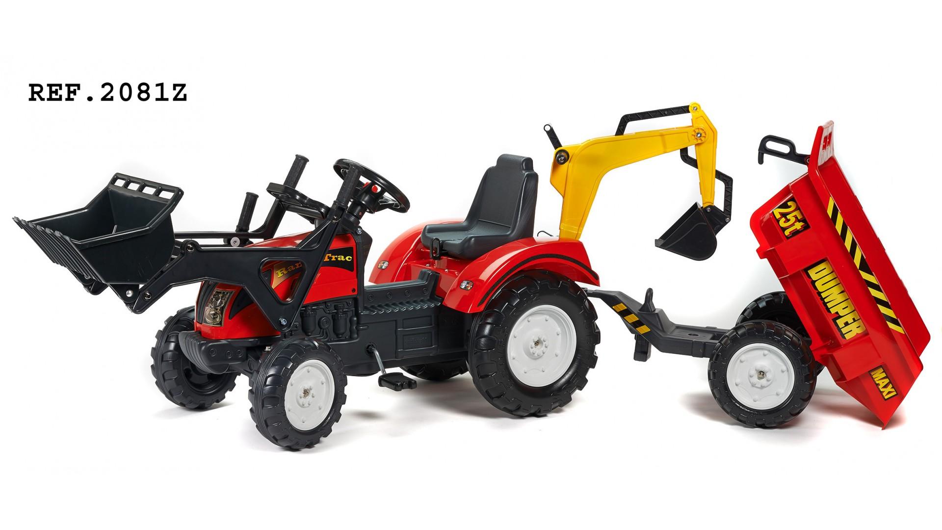 Трактор-экскаватор педальный с прицепом, красный 219 смПедальные машины и трактора<br>Трактор-экскаватор педальный с прицепом, красный 219 см<br>