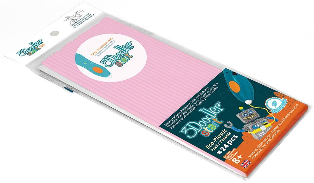 Купить Эко-пластик к 3Д ручке 3Doodler Start, цвет розовый, 24 штуки, Wobble Works
