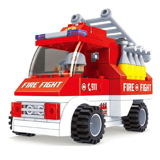 Конструктор Пожарная бригада. Пожарная машина с лестницей, 101 детальКонструкторы других производителей<br>Конструктор Пожарная бригада. Пожарная машина с лестницей, 101 деталь<br>