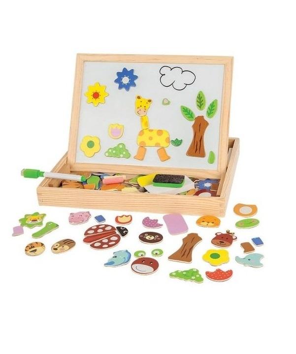 Чудо-чемоданчик Зоопарк с доской для рисования, меловой доской и фигурками на магнитах