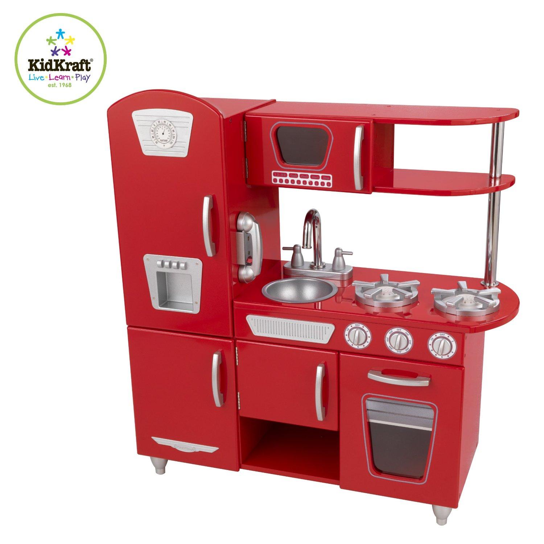 Детская игрушечная кухня из дерева – Винтаж, красная - Детские игровые кухни, артикул: 164730