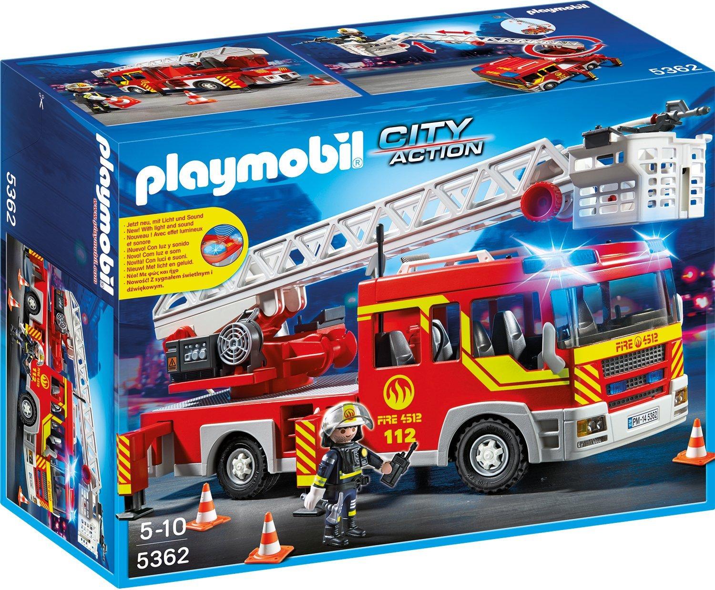 Игровой набор  Пожарная служба: Пожарная машина с лестницей, со светом и звуком - Конструкторы Playmobil, артикул: 135866