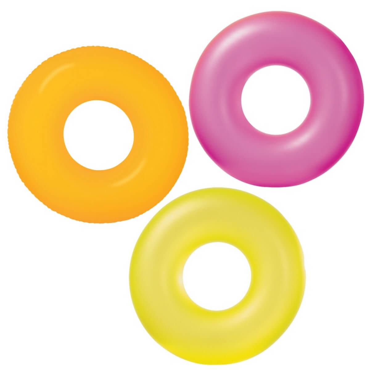 Круг надувной цветной прозрачный, 91 см.Надувные животные, круги и матрацы<br>Круг надувной цветной прозрачный, 91 см.<br>
